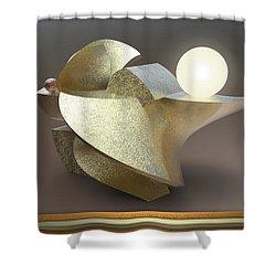 ' Wavy Cut Sculpture Light ' Shower Curtain