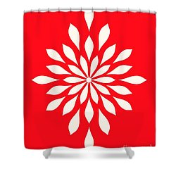 White Star Flower Shower Curtain