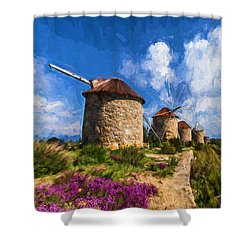Windmills Of Portugal Shower Curtain