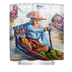 Women On Jukung Shower Curtain