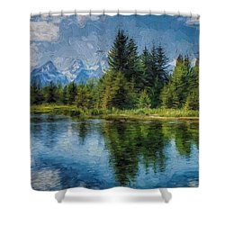 Wyoming Tetons Spruce Mountain Lake. Oil Painting . Shower Curtain by Heinz G Mielke