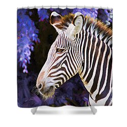 Shower Curtain featuring the painting  Zebra Portrait by Judy Kay