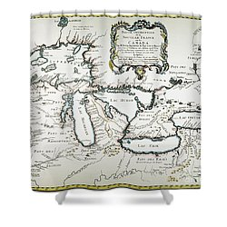 Great Lakes Map, 1755 Shower Curtain by Granger