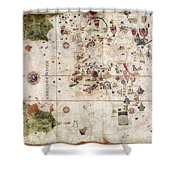Nina: World Map, 1500 Shower Curtain by Granger