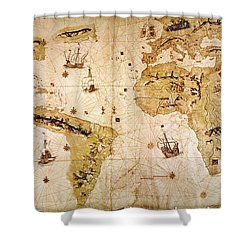 Vespucci's World Map, 1526 Shower Curtain by Granger