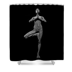 0027-dja Yoga Balance Black White Zebra Stripe Photograph By Chris Maher Shower Curtain