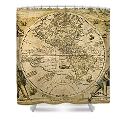 W. Hemisphere Map, 1596 Shower Curtain by Granger