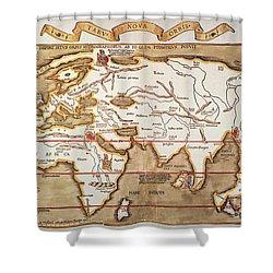 Waldseemuller: World Map Shower Curtain by Granger