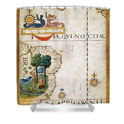 Brazil: Map And Native Indians Shower Curtain by Granger
