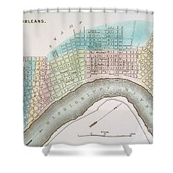 New Orleans Map, 1837 Shower Curtain by Granger