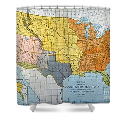 U.s. Map, 1776/1884 Shower Curtain by Granger