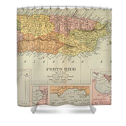 Map: Puerto Rico, 1900 Shower Curtain by Granger