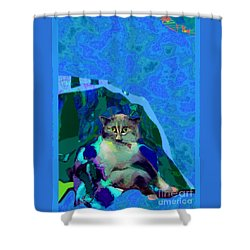 007 The Under Covers Cat Shower Curtain