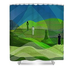 009  Human Figures In Landscape 2017 Shower Curtain