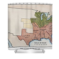 United States Map, 1854 Shower Curtain by Granger