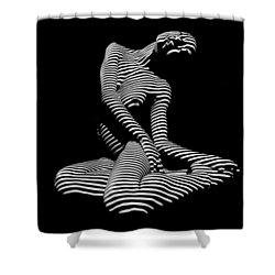 0111-dja Languid Seated Zebra Woman Black White Striped Abstract Photograph Shower Curtain