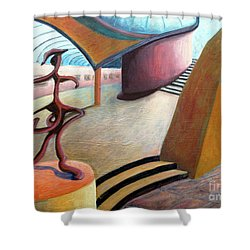 01343 Museum Shower Curtain by AnneKarin Glass