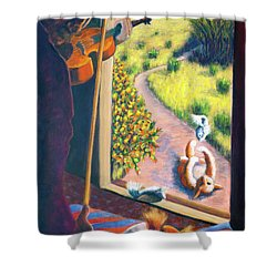 01349 The Cat And The Fiddle Shower Curtain by AnneKarin Glass