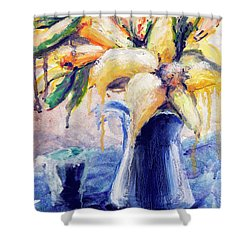 01353 Daffodils Shower Curtain by AnneKarin Glass