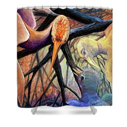 01357 Jungle Talk Shower Curtain by AnneKarin Glass