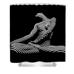 0174-dja Lotus Zebra Woman Sensual Feminine Black And White Figure Study Shower Curtain