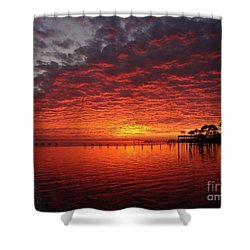 0205 Awesome Sunset Colors On Santa Rosa Sound Shower Curtain