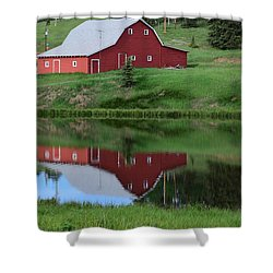 Red Barn Burgess Res Divide Co Shower Curtain