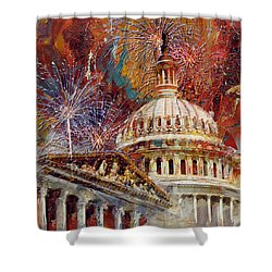 070 United States Capitol Building - Us Independence Day Celebration Fireworks Shower Curtain by Maryam Mughal