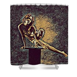 0953s-zac Casual Balance Black Dancer Graceful Strong In The Style Of Antonio Bravo Shower Curtain