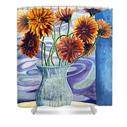 01305 Orange African Daisies Shower Curtain