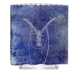 1896 Shoe Patent Blue Shower Curtain by Jon Neidert