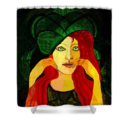 1903 - Sweet Girl With Ozean Colored  Eyes 2017 Shower Curtain by Irmgard Schoendorf Welch