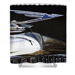 1929 Duesenberg Model J Hood Ornament Shower Curtain by Jill Reger