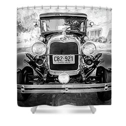 Shower Curtain featuring the photograph 1929 Ford Model A Tudor Police Sedan Bw by Rich Franco