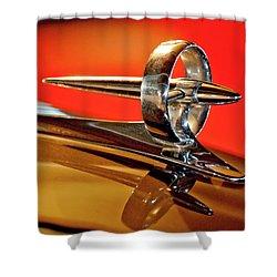 1947 Buick Roadmaster Hood Ornament Shower Curtain by Jill Reger