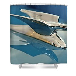 1952 Crosley Super Woody Wagon Hood Ornament Shower Curtain by Jill Reger