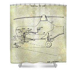 1953 Helicopter Patent Shower Curtain