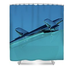 Shower Curtain featuring the photograph 1956 Chevy Belair Hood Ornament 2 by Jani Freimann