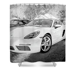 2017 Porsche Cayman 718 S  Bw    Shower Curtain