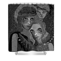 Shower Curtain featuring the digital art 451 - To Lean On by Irmgard Schoendorf Welch