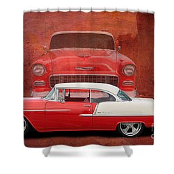 55 Chev Beauty Shower Curtain by Jim  Hatch