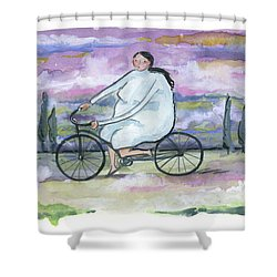 Shower Curtain featuring the painting A Beautiful Day For A Ride by Leanne WILKES