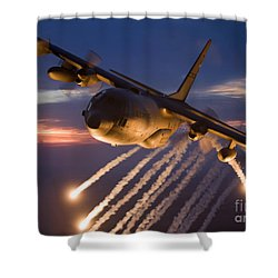 Shower Curtain featuring the photograph A C-130 Hercules Releases Flares by HIGH-G Productions