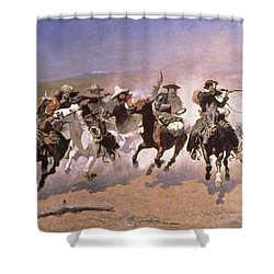 A Dash For The Timber Shower Curtain by Frederic Remington