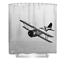 A Grumman F3f Biplane In Flight Shower Curtain by Scott Germain