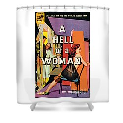 Shower Curtain featuring the painting A Hell Of A Woman by Morgan Kane