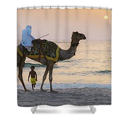 Little Boy Stares In Amazement At A Camel Riding On Marina Beach In Dubai, United Arab Emirates -  Shower Curtain