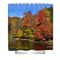 Shower Curtain featuring the painting A Little Piece Of Adirondack Heaven by Diane E Berry