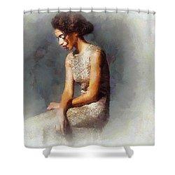 A Little Shy Shower Curtain by Gun Legler