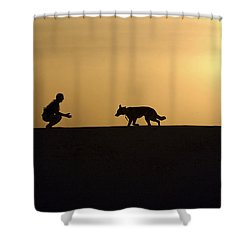 A Military Working Dog And His Handler Shower Curtain by Stocktrek Images
